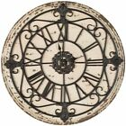 """Antiqued Rustic Wall Clock Wood & Iron Vintage Roman Numerals ~ Large 25"""" Round"""
