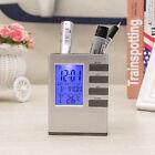 Digital Snooze LED Backlight Alarm Clock Pen Holder Timer Calendar Thermometer