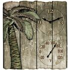 """TAYLOR Taylor 12"""" X 13"""" Palm Tree Poly Resin Clock With Thermometer"""