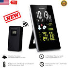 Wireless LCD Weather Station Hygrometer Thermometer Clock Alarm w/Outdoor Sensor