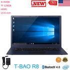"T-bao R8 Laptop Computer 15.6"" Windows 10 Quad Core 4+64GB TF 128GB HDMI BT Wifi"