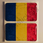 "Sticker Romania Flag Dirty Grunge 3D Resin Domed Stickers 2x 2.16""x1.25"""