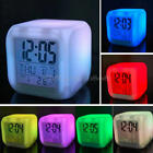 Hot Night Light LCD LED Alarm Clock Cube 7 Color Snooze Thermometer Calendar Hot