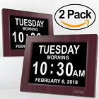 2pcs Extra Large Impaired Vision Digital Clock with  Battery Backup, Mahogany