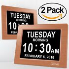2pcs Extra Large Impaired Vision Digital Clock with  Battery Backup, Wood Color