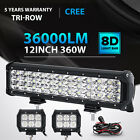 """TRI ROW 12Inch 360W+4"""" 18W Led Light Bar Spot Flood Fit for Ford Truck Pickup 14"""