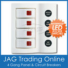 4 GANG WHITE DELUXE LED ROCKER SWITCH PANEL & CIRCUIT BREAKERS - BOAT/MARINE