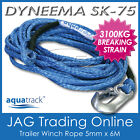 DYNEEMA SK-75 6M x 5mm H/DUTY BOAT TRAILER WINCH ROPE & SNAP HOOK - UHMPE 3100kg