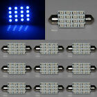 10X Blue Festoon 41mm 16 SMD 3528 LED Light Interior Dome Panel Lamp Xenon 12V