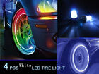 4pcs White LED Tyre Tire Valve Caps Neon Light Bike Car motorcycle