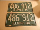 38 1938 Matched Pair Illinois Tags Licence License Plates Original Paint