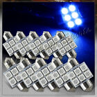10x 31mm 6 SMD Blue LED Festoon Dome Map Glove Box Trunk Replacement Light Bulbs