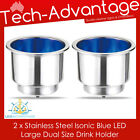 2 X STAINLESS STEEL BLUE LED ILLUMINATED NIGHT BOAT WINE BOTTLE/CUP/DRINK HOLDER