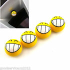 4 Pcs Yellow Smile Teeth Auto Wheel Valve Tire Tyre Air Dust Caps For Mitsubishi