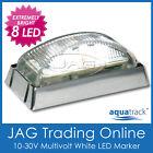10-30V 8-LED WHITE MARKER LIGHT/CLEARANCE LAMP CHROME HOUSING-Boat/Truck/Trailer
