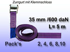 Tension Belt, Lashing Strap with Clamping Lock Violet 35 mm 600 Dan L = 5 M