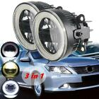 2x 3.5inch 3 in 1 LED Projector Fog Light Car Lamp DRL Bulb Angel Eyes Halo Ring