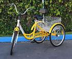 "Brand New Yellow 24"" 3-Wheel Adult Tricycle Bicycle Trike Cruise Bike W/ Basket"