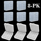 8 Pcs Clear White Plastic Storage Battery Box Holder Case for 4x 18650 Batteries