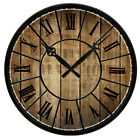 """15"""" Vintage Design Wooden Print Texture Rustic Country Tuscan Decor Wall Clock"""