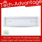 12V 24V 15 WATT 72-LED CABIN BOAT CARAVAN INTERIOR LED LIGHT & ON/OFF SWITCH