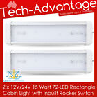 2 X 12V 24V 15 WATT 72-LED CABIN BOAT CARAVAN INTERIOR LED LIGHT & ON/OFF SWITCH