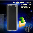 8GB Digital Audio Voice Recorder Rechargeable Dictaphone & USB Drive &MP3 Player