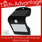 BLACK SMART SOLAR & SENSOR LED WALL MOUNT SECURITY LIGHT - HOME/BOAT/CARAVAN