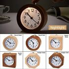 Wood Digital Silent Mute Table Bedside Snooze Lazy Alarm Clock W/Nightlight