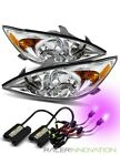*12000K Purple HID* For 02-04 Toyota Camry Chrome Clear Crystal Headlights Lamps