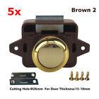 5x Push Button Catch Pop Up Lock Knob Handle Latch forRV Cupboard Cabinet Brown2