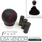 FIT CHEVY! M10 M8 M12!USA BLACK RED STITCH LEATHER MANUAL SHIFT KNOB SET SCREWS