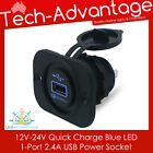 12V-24V QUICK CHARGE 2.0 BLUE BACKLIT LED USB CHARGER SOCKET - BOAT/CARAVAN/CAR