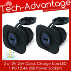 2 X 12V-24V QUICK CHARGE 2.0 BLUE LED USB CHARGER SOCKET - BOAT/CARAVAN/CAR