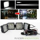 "4PC 4.5"" Heavy Duty 27W 9 LED Off Road Work/Tractor Square Spot Lights + Switch"