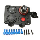 12V Boat Car RV Voltmeter Dual USB Charger + Power Socket 4 Hole Panel Switch