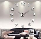 Fashion Large Number Analog Wall Clock 3D Mirror Sticker Home Decor Art Modern