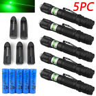 5PCS 20Miles 532nm Green Beam Light Laser Pointer Pen1MW Lazer +Star Cap&Charger