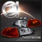 Fits 92-95 Honda Civic 4dr Black Headlights+Smoke Amber Corner Lights EG EH EJ