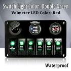 2 USB Socket 6-Gang Green LED Rocker Switch Cigarette Plug Voltage Panel Marine