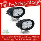 2 X 12V/24V 20 WATT COMPACT FLOOD BOAT/FLYBRIDGE/FISHING LED SPOT WORK LIGHTS