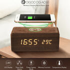 Digoo LED Voice Control Wooden Alarm Clock Thermometer Wireless Phone Charging