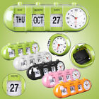 Retro Vintage Style Calendar Flip Alarm Clock Day & Date Home Xmas Gifts Decor