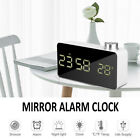 LED Alarm Clock Backlight Mirror Display Temperature Snooze Home Table Lamp NEW