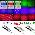 USA 6in1 Green+Red+Blue/Violet Laser Pointer Pen Visible Beam Light +Star Caps