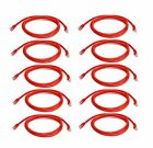 iMBAPrice - Cat6 Snagless RJ45 Ethernet Patch Cable in Red (5 Feet) - 10 Pack