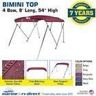 "Bimini Top Boat Cover 4 Bow 54"" H 85"" - 90"" W 8 ft. L. Solution Dye Burgundy"