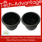 2 X CARBON PRINT BOAT/RV RECESSED DUAL SIZE WINE CUP/DRINK HOLDERS WITH DRAIN