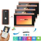 "7"" TFT LCD 4 Monitors Wired Wifi Video Door Phone Doorbell Intercom Remote APP"