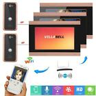 7inch LCD 3 Monitors Wired Wifi Video Door Phone Doorbell Intercom Remote APP